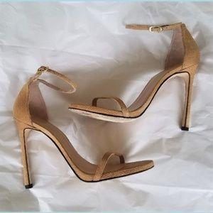 STUART WEITZMAN Tan Textured Leather Strappy Heels
